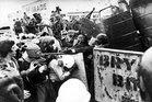 1981 Springbok tour demonstrators go head to head with riot police outside Eden Park. Photo / Northern Advocate