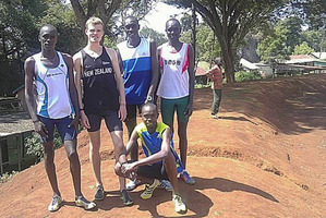 New Zealand distance runner Jake Robertson in Kenya with his training partners. Photo : NZPA.