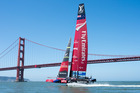 Emirates Team New Zealand on the bay in San Francisco. Photo / Chris Cameron