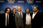 From left: Edgar Wright, Martin Freeman, Simon Pegg, Sir Peter Jackson and Nick Frost, at the Wellington premiere for The World's End yesterday. Photo / Marty Melville