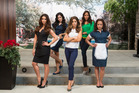 Roselyn Sanchez, Edy Ganem, Ana Ortiz, Dania Ramirez, and Judy Reyes get their aprons on.