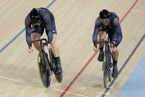 Olympic bronze medallist Simon van Velthooven and compatriot Eddie Dawkins scored wins on day three of the international track cycling series in Adelaide last night. Photo/Mark Mitchell.