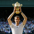 Andy Murray of Britain poses with the Wimbledon trophy. Photo / AP