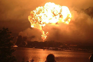 A photo posted to Twitter of the explosions at Lac-Megnatic.