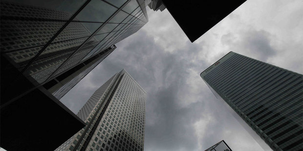 Canary Wharf, London. I left the CitiBank tower to trade myself from home. Photo / AP