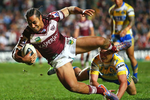 Steve Matai crashes over the line to score a try that was later disallowed. Photo / Getty Images