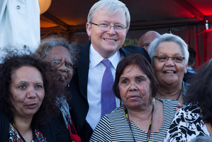 Kevin Rudd is welcomed by Aboriginal women and children during 'The Apology - Five Years On - Heal our Past, Build our Future'. Photo / Getty Images