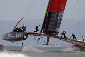 Team New Zealand will race alone once again this morning. Photo / AP