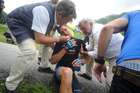 Jack Bauer of Team Garmin-Sharp suffered facial injuries during Stage 19 of the Tour de France. Photo / AP