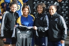 AGGS player Lani Latoa-Williams, second from left, with Black ferns Rawinia Everett, left, Justine Lavea  and Karina Stowers, right, who also coaches the school's 1st XV.