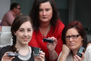 Carrie Hetherington (left) Vanessa Caseley and Heidi-Jane James with CareSens meters. Photo / Thomas Westwood