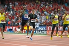 Usain Bolt (second from left) warms up for next month's world championships by winning in Paris. AP