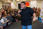 Whenua Patuwai entertains hundreds of fans in Riccarton Mall yesterday. Photo / Martin Hunter