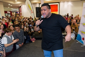 Whenua Patuwai entertains hundreds of fans in Riccarton Mall yesterday. Photo / Martin Hunter