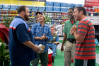 Kevin James, David Spade, Jonathan Loughran, seated, Chris Rock, and Adam Sandler in a scene from Grown Ups 2. Photo / AP
