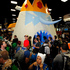 Fans wait to walk through a huge Ice King character at the Cartoon Network booth during the Preview Night event on Day 1. Photo / AP