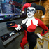 The infamous Harley Quinn character from Batman checks out the latest LG smartphones and smart TVs at the Legendary Entertainment booth at Comic-Con International 2013.