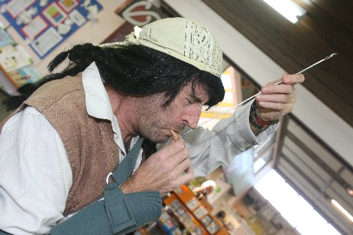 Pirate Pete (Ken Samson) entertains children at the Masterton Library holiday programme.