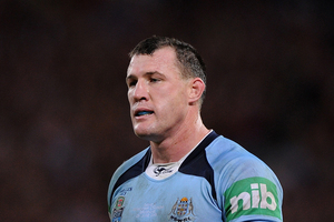 Injured NSW skipper Paul Gallen has sparked plenty of emotion with a heart-felt plea to his teammates to dig deep and be tough in tonight's State of Origin series decider. Photo / Getty Images.