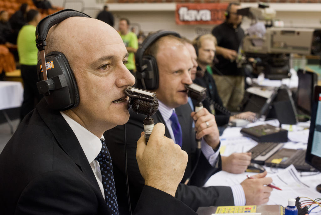 Tab Baldwin, Hawks coach, calls the shots courtside with Andrew Mulligan, Prime presenter, after the Hawks failed to make the cut in the playoffs.