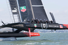 Oracle practising for their America's Cup defence on San Francisco Bay.   Photo / Oracle