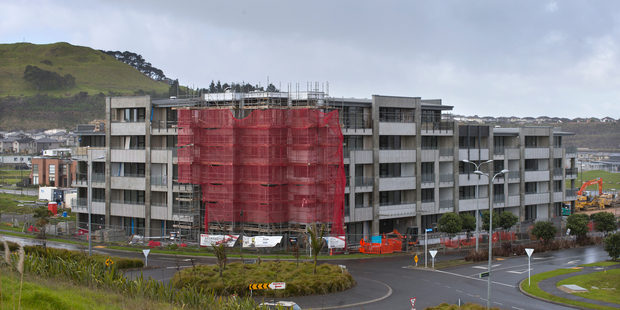 The Saltus apartment building being constructed at Stonefields, Mt Wellington, Auckland. Photo / Brett Phibbs