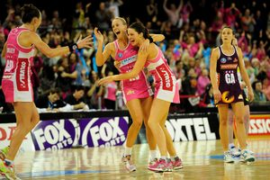 Renae Hallinan and Sharni Layton celebrate the Thunderbirds' ANZ Championship win yesterday. Photo / Adelaide Advertiser