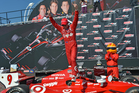 Scott Dixon is jubilant after completing a three-peat of victories in Toronto. Picture / IndyCar Media