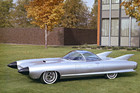 The 1959 Cadillac Cyclone concept car (XP-74) owes much in design to the Lockheed P-38 Lightning fighter plane.