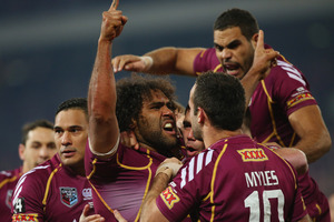 Sam Thaiday was a man possessed in game two, running at Maloney three times in the first two minutes. Photo / Getty Images