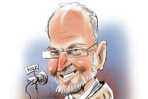 Retiring Radio NZ chief, Peter Cavanagh. Cartoon / Rod Emmerson