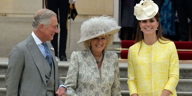 Prince Charles, Camilla Duchess of Cornwall, and Kate Middleton. The royal baby is due this week.Photo / AP