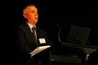 David O'Connell, managing director of Geneva Finance, at the finance company's annual meeting in 2008. The former finance company has now paid back all its investors. Photo / NZ Herald