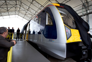 Auckland's first new electric train is on its way. Photo / Sarah Ivey