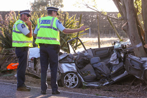 Fatal motor vehicle accident on Sandy Road, Meeanee, near Napier. Photo / HBT