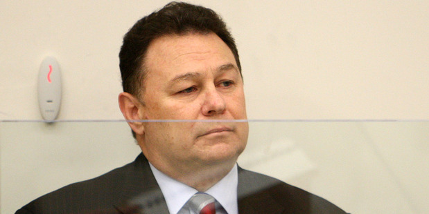 Blue Chip boss Mark Bryers sits in the dock in the Auckland District court for sentencing, in May 2010. Photo / NZPA
