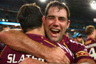 Billy Slater and Cameron Smith celebrate another Origin series victory. Photo / Getty