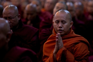 Controversial cleric U Wirathu preaches anti-Muslim sermons. Photo / AP