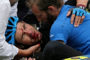 New Zealand cyclist Jack Bauer crashed during the 19th stage of the Tour de France. AP