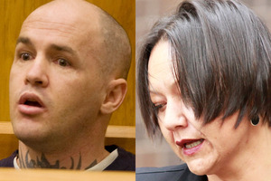 Convicted murderer and rapist Liam Reid and lawyer Davina Murray. Photo / APN