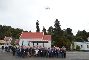 Jason Blair and Dave Kwant'd drone was on show at a Minerals West Coast forum at Shantytown. Photo / Greymouth Star