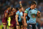 Greg Bird of the Blues dejected after game three of the ARL State of Origin series between the New South Wales Blues and the Queensland Maroons. Photo / Getty Images