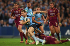 Trent Merrin of the Blues on his way to score a try during game three of the ARL State of Origin. Photo / Getty Images