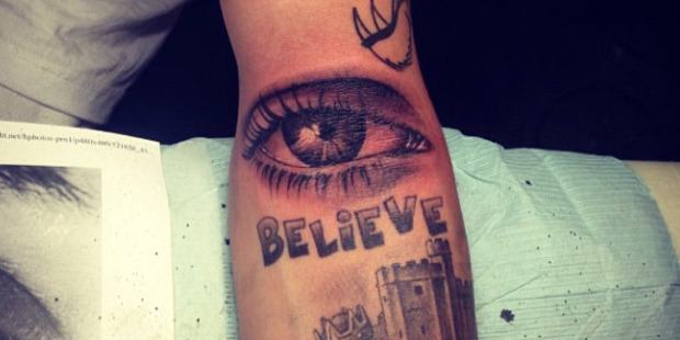 Justin Bieber's new tattoo, which he says is of his mother's eyeball. Photo / Instagram