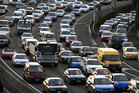 Traffic builds up on State Highway One approaching the Newmarket Viaduct. Photo / Martin Sykes