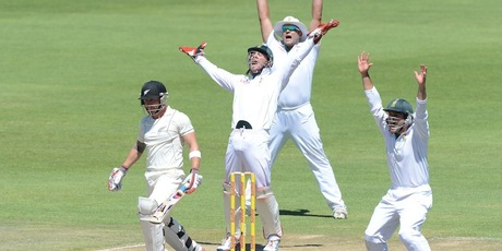 Brendon McCullum is trapped lbw by Robin Petersen for 11 runs during day three. Photo / Getty Images