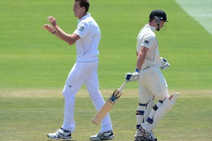 Morne Morkel of South Africa celebrates the wicket of Colin Munro. Photo / Getty Images