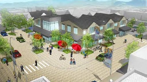 Future development for the block of shops at the southwest corner of Edgeware Rd and Colombo St. A two and three storey community, medical or retail, cafe precinct is proposed in the draft master plan.
