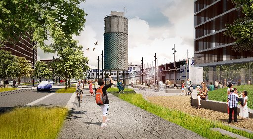 Daldy and Halsey streets are set to become tree-lined boulevards connecting the waterfront and Victoria Park.