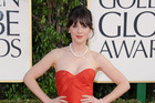 Actress Zooey Deschanel arrives at the 70th Annual Golden Globe Awards. Photo / AP